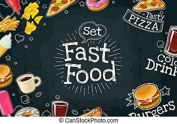 plat, kleur, poster, vasten, voedsel., donker, vector, illustratie, achtergrond