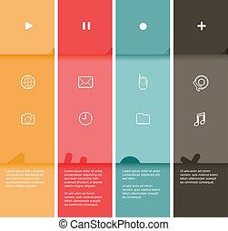plat, kleur, -, strepen, illustratie, vector, ontwerp, 4, mal