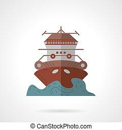 plat, kleur, vector, cruiseschip, pictogram
