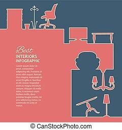 plat, kleuren, infographics
