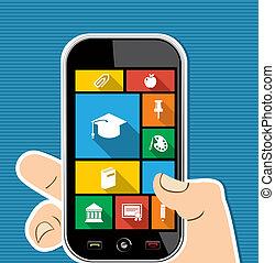 plat, kleurrijke, beweeglijk, apps, icons., hand, menselijk, opleiding