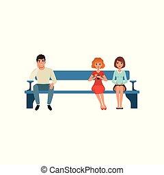 plat, kleurrijke, mensen zittende, twee, illustratie, bankje, hun, wachten, vector, turn., queue., vrouwen, man