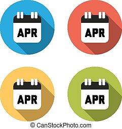 plat, kleurrijke, vrijstaand, verzameling, knopen, april, (calend, 4