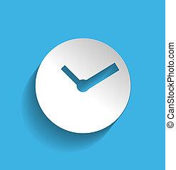 plat, klok, moderne, ontwerp, tijd, pictogram