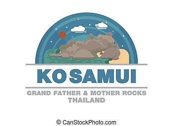 plat, ko, symbole, mère, père, rochers, conception, samui,...