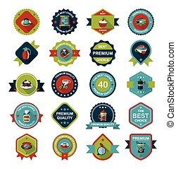 plat, koffie, eps10, set, ontwerp, achtergrond, badge