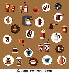 plat, koffie, iconen, potten, koppen, takeaway, bonen