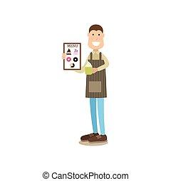 plat, koffie, mensen, woning, stijl, illustratie, vector