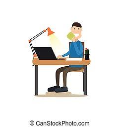 plat, koffie, stijl, illustratie, werk, vector
