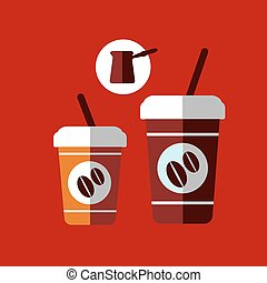 plat, koffiekopjes, spotprent, takeaway