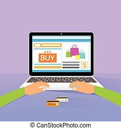 plat, kopen, shoppen , draagbare computer, ontwerp, handen, ...