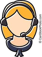 plat, koptelefoon, illustratie, ontwerp, meisje, .vector