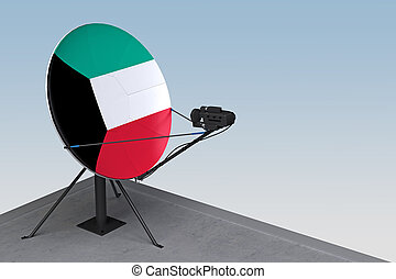 plat, koweït, satellite, drapeau