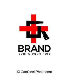 plat, kruis, ontwerp, slang, logo, template.