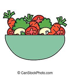 plat, légumes, bol, salade