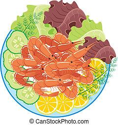 plat, légumes, crevettes