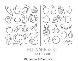 plat, légumes, fruits, icônes