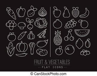 plat, Légumes,  fruits, noir, icônes
