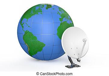 plat, la terre, satellite