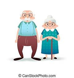 plat, lady., oud, achtergrond., paar., illustratie, fanny, senior, characters., witte , vrolijke , spotprent, man