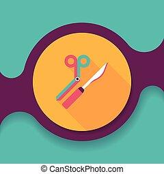 plat, lang, instrument, chirurgisch, schaduw, pictogram