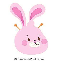 plat, lapin, conception, dessin animé