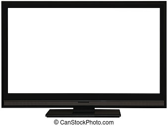 plat, large, écran tv, coupure
