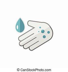 plat, lavage main, icône