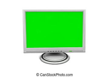 plat, lcd, scherm, monitor