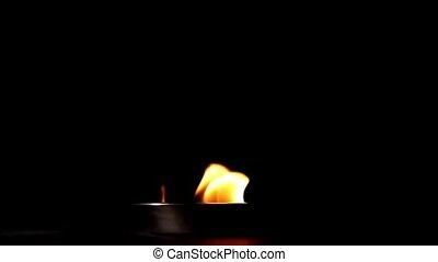 plat, levée, métal, obscurité, flamme