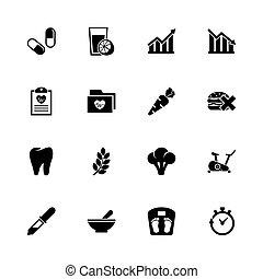 plat, levensstijl, iconen, gezonde , -, vector