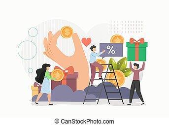 plat, ligne, loyauté, concept, illustration, récompenses, client, vecteur, programme