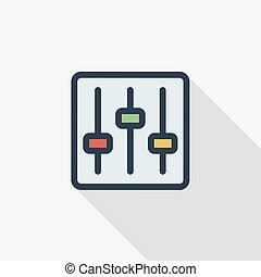 plat, lineair, kleurrijke, kleur, opstelling, mixer, symbool., lang, vector, mager, icon., schaduw, lijn, design.