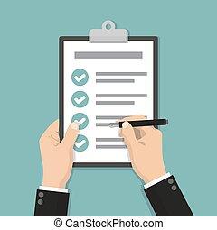 plat, liste contrôle, stylo, presse-papiers, conception, tenant mains, homme affaires