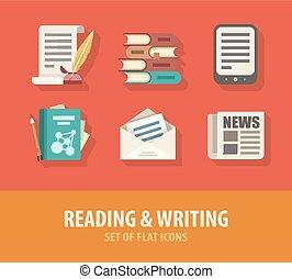 plat, literatuur, iconen, schrijvende , set, lezende