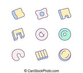 plat, literie, chambre à coucher, icons., confortable, équipement, orthopédique, vecteur, sommeil, mince, lin, signes, intérieur, ligne, oreiller, magasin, illustrations.