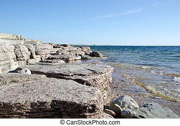 plat, littoral, rocher