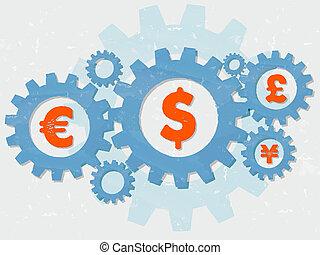 plat, livre, grunge, yen, conception, dollar, signes, euro, engrenages