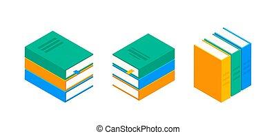 plat, livre, isométrique, livres, école, pile, illustration, bibliothèque, vecteur, enfants, icon.