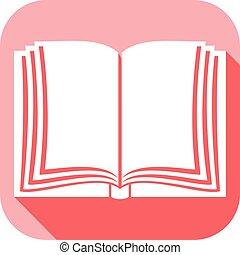 plat, livre, ouvert, icône