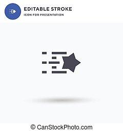 plat, logo, illustration., signe, presentation., blanc, rempli, icône, étoile filante, solide, isolé, pictogramme, vecteur