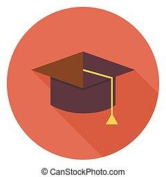 plat, long, diplômé, cercle, education, chapeau, ombre, icône