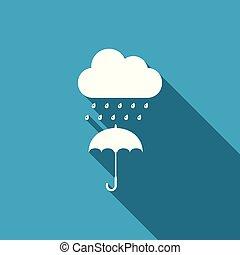 plat, long, parapluie, goutte, isolé, pluie, vecteur, illustration, icône, shadow., nuage, design.