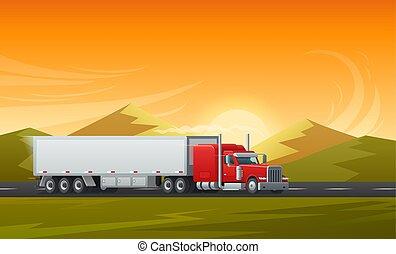plat, long, vecteur, conception, véhicule, camion, caravane