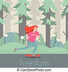 plat, longboard., vrijheid, karakter, illustratie, vector, skater, meisje, spotprent, met de hand geschreven