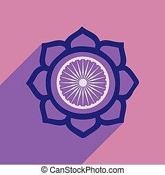 plat, lotus, moderne, lang, schaduw, pictogram