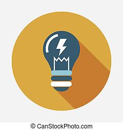 plat, lumière, long, ampoule, ombre, icône