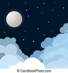 plat, lune, fond, étoiles, espace