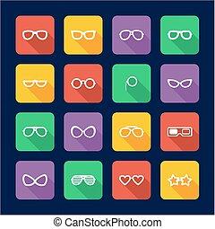 plat, lunettes, conception, icônes