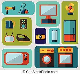 plat, ménage, ensemble, appareils, icônes